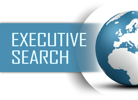 executive search: Executive Search concept with globe on white background Stock Photo