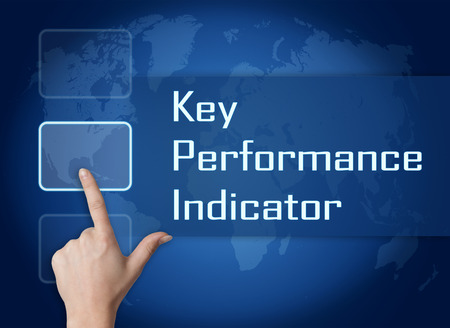 Key Performance Indicator concept with interface and world map on blue background photo