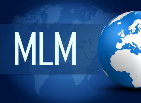multi level: Multi Level Marketing concept with globe on blue world map background