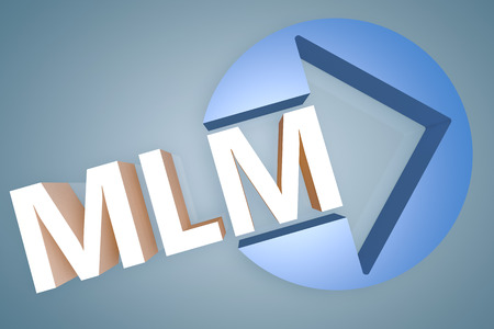 mlm: Multi Level Marketing - acronym 3d render illustration concept with a arrow in a circle on blue-grey background