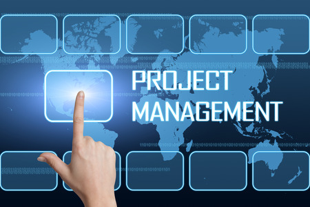 Project Management concept with interface and world map on blue background photo