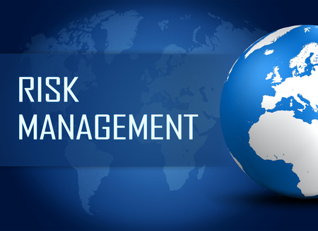 Risk Management concept with globe on blue world map background