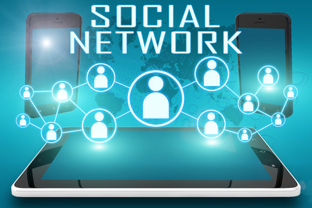 Social Network - text illustration with social icons and tablet computer and mobile cellphones on cyan digital world map background illustration