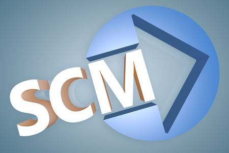 variance: Supply Chain Management - acronym 3d render illustration concept with a arrow in a circle on blue-grey background