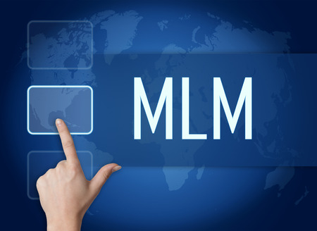 mlm: Multi Level Marketing concept with interface and world map on blue background Stock Photo