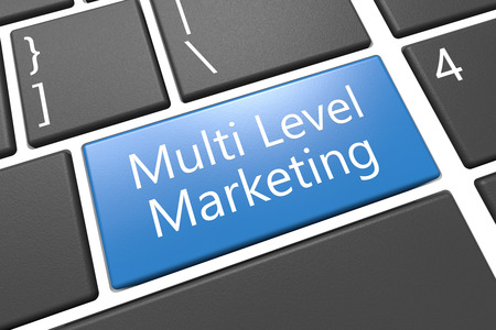 multi level: Multi Level Marketing - keyboard 3d render illustration with word on blue key