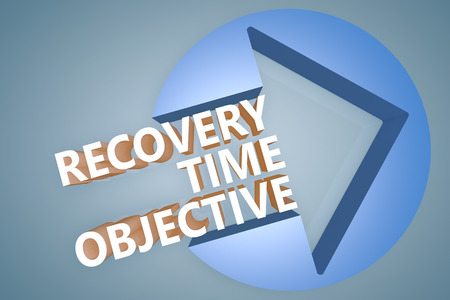 time critical: Recovery Time Objective - text 3d render illustration concept with a arrow in a circle on blue-grey background