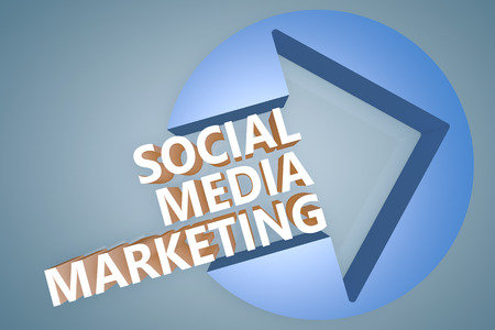 smm: Social Media Marketing - text 3d render illustration concept with a arrow in a circle on blue-grey background