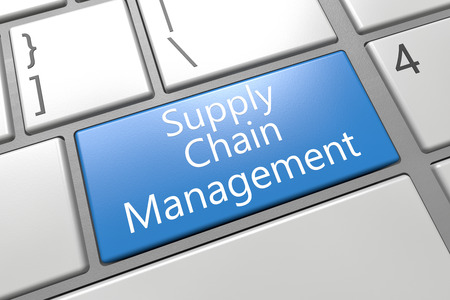completed: Supply Chain Management - keyboard 3d render illustration with word on blue key