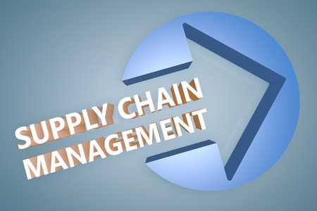 variance: Supply Chain Management - text 3d render illustration concept with a arrow in a circle on blue-grey background