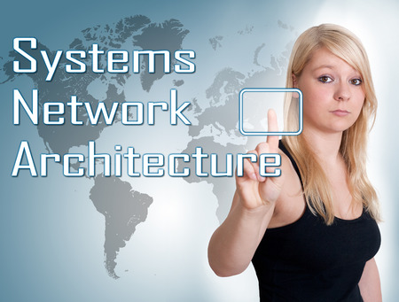 Young woman press digital Systems Network Architecture button on interface in front of her photo