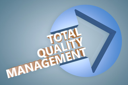 Total Quality Management - text 3d render illustration concept with a arrow in a circle on blue-grey background illustration
