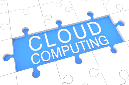 Cloud Computing - puzzle 3d render illustration with word on blue background illustration