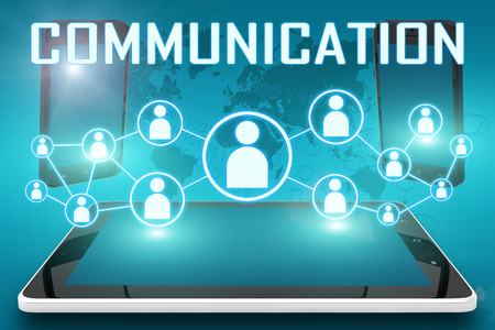 Communication - text illustration with social icons and tablet computer and mobile cellphones on cyan digital world map background