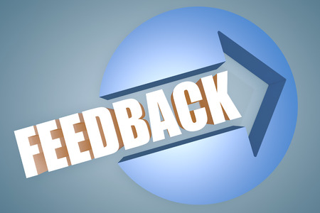 Feedback - text 3d render illustration concept with a arrow in a circle on blue-grey background illustration