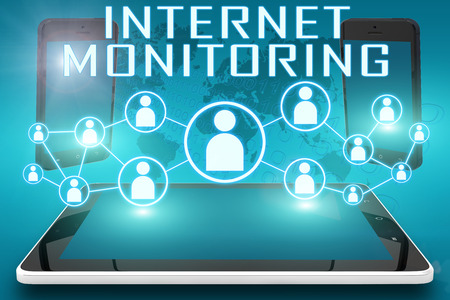 Internet Monitoring - text illustration with social icons and tablet computer and mobile cellphones on cyan digital world map background illustration