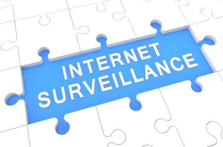 Internet Surveillance - puzzle 3d render illustration with word on blue background illustration