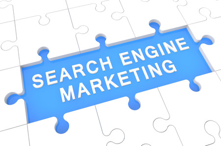 Search Engine Marketing - puzzle 3d render illustration with word on blue background illustration