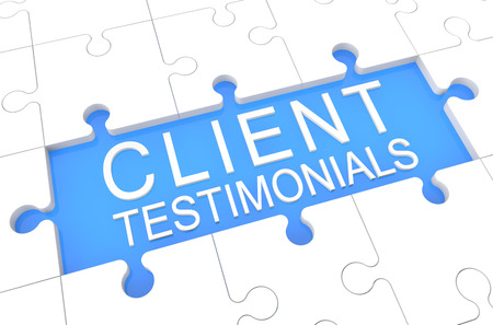 affirmations: Client Testimonials - puzzle 3d render illustration with word on blue background