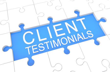 Client Testimonials - puzzel 3d render illustratie met woord op een blauwe achtergrond