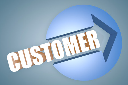 customer care: Customer - text 3d render illustration concept with a arrow in a circle on blue-grey background
