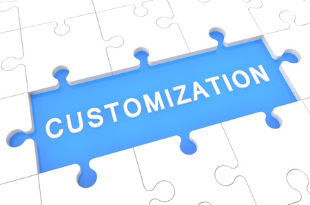customized: Customization - puzzle 3d render illustration with word on blue background