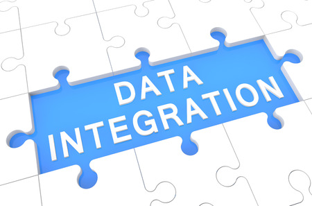 Data Integration - puzzle 3d render illustration with word on blue background illustration