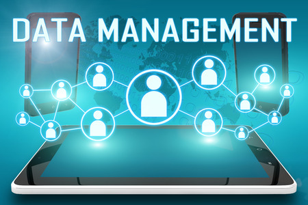 Data Management - text illustration with social icons and tablet computer and mobile cellphones on cyan digital world map background illustration