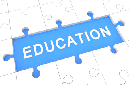 knowlage: Education - puzzle 3d render illustration with word on blue background Stock Photo