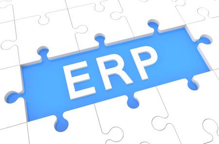 Enterprise Resource Planning - puzzle 3d render illustration with word on blue background illustration