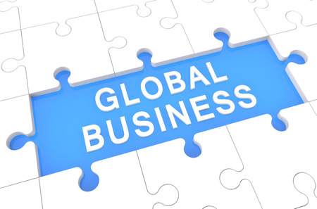 Global Business - puzzle 3d render illustration with word on blue background illustration