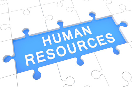 Human Resources - puzzle 3d render illustration with word on blue background illustration