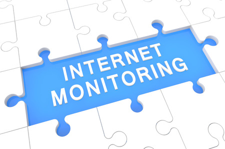 Internet Monitoring - puzzle 3d render illustration with word on blue background