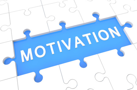 Motivation - puzzle 3d render illustration with word on blue background illustration