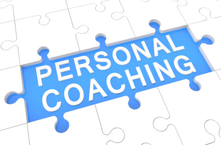 knowlage: Personal Coaching - puzzle 3d render illustration with word on blue background