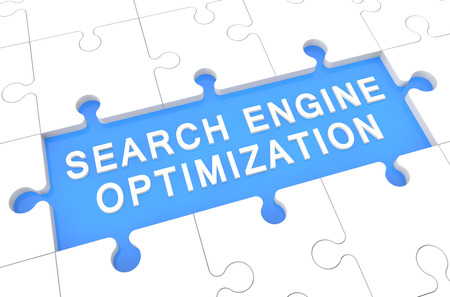 Search Engine Optimization - puzzle 3d render illustration with word on blue background illustration