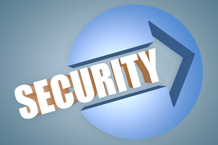 Security - text 3d render illustration concept with a arrow in a circle on blue-grey background illustration