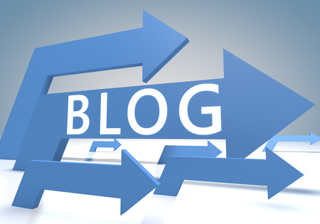 Blog 3d render concept with blue arrows on a bluegrey background.