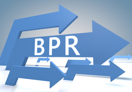 bpr: Business Process Reengineering 3d render concept with blue arrows on a bluegrey background. Stock Photo