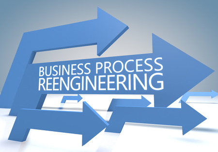 redesign: Business Process Reengineering 3d render concept with blue arrows on a bluegrey background. Stock Photo
