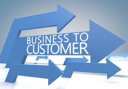 Business to Customer 3d render concept with blue arrows on a bluegrey background. photo