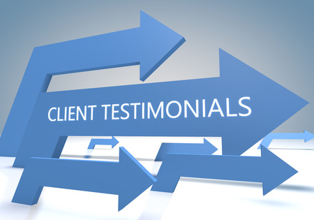 affirmations: Client Testimonials 3d render concept with blue arrows on a bluegrey background.