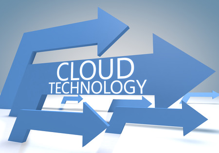 Cloud Technology 3d render concept with blue arrows on a bluegrey background. photo