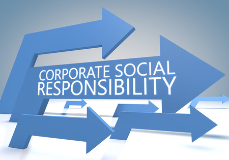 Corporate Social Responsibility 3d render concept with blue arrows on a bluegrey background. photo