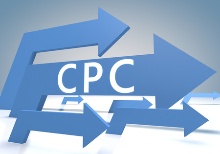 Cost per Click 3d render concept with blue arrows on a bluegrey background.