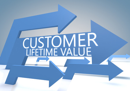 lifetime: Customer Lifetime Value 3d render concept with blue arrows on a bluegrey background.