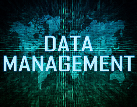 Data Management text concept on green digital world map background  photo