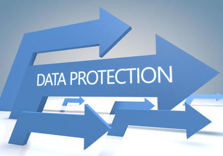 Data Protection 3d render concept with blue arrows on a bluegrey background. photo