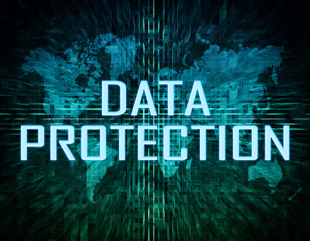 Data Protection text concept on green digital world map background  photo