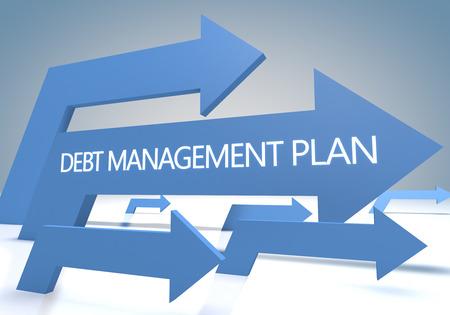 debt management: Debt Management Plan 3d render concept with blue arrows on a bluegrey background. Stock Photo